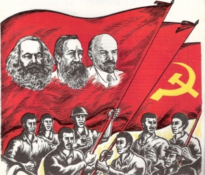 Marx, Engels, Lenin, foice-e-martelo e proletariado