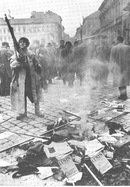 Fogueira de livros na Hungria em Budapeste, 1956, empreendida por anticomunistas